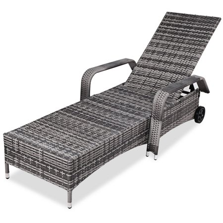 Gymax Adjustable Outdoor Patio Chaise Lounge Cushioned Recliner Chair Furniture - image 1 of 5