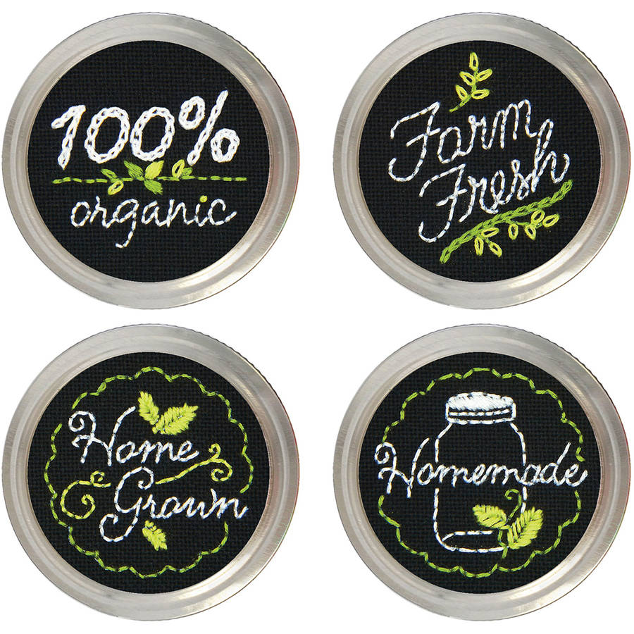 Garden Market Jar Topper Embroidery Kit-Set Of 4
