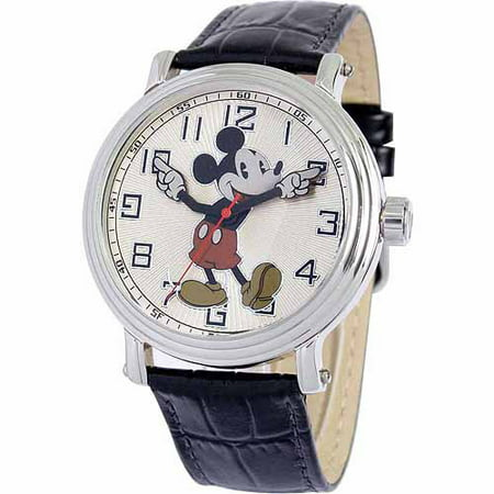 Disney Mickey Mouse Men's Vintage Watch, Black Strap