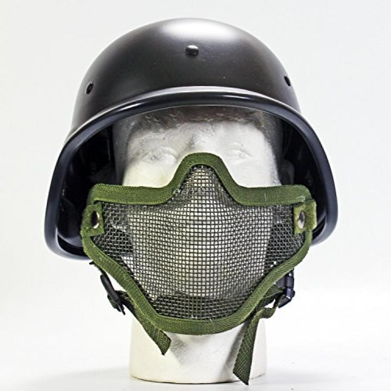 BBTac Protection Mask Combo Package 2 in 1 Protection half face green metal mesh mask + PASGT Airsoft Protection Helmet... by