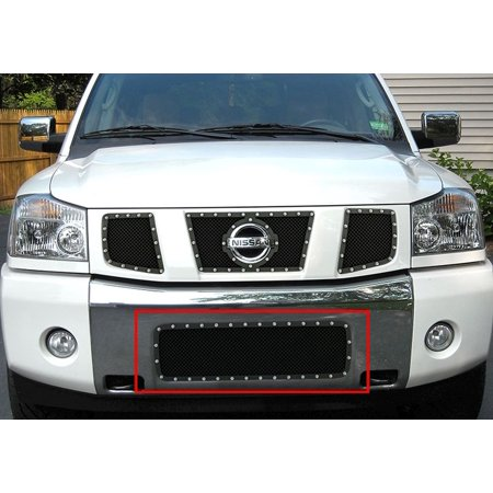 2004-2007 Nissan Armada /2004-2015 Nissan Titan Stainless Steel Black Lower Bumper Wire Mesh Rivet Grille
