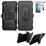 Phone Case For Straight Talk Motorola e6 Prepaid Smartphone /Moto E6 Case +Tempered Glass with Shock Absorbing Holster Belt Clip (Holster Black  +Tempered Glass)