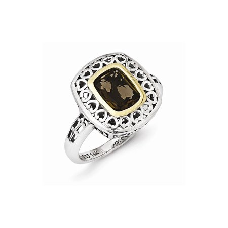 Roy Rose Jewelry Sterling Silver with 14K Yellow Gold Antiqued Smoky Quartz Ring Size
