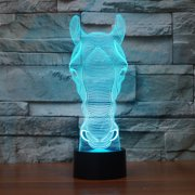 Colorful LED Horse Head Shape Mini Lamp 7 Colors 3D Nightlight Night Light Bedside Desktop Home Decor with Touch Switch for Kids Baby & Adults Bedroom Living Room