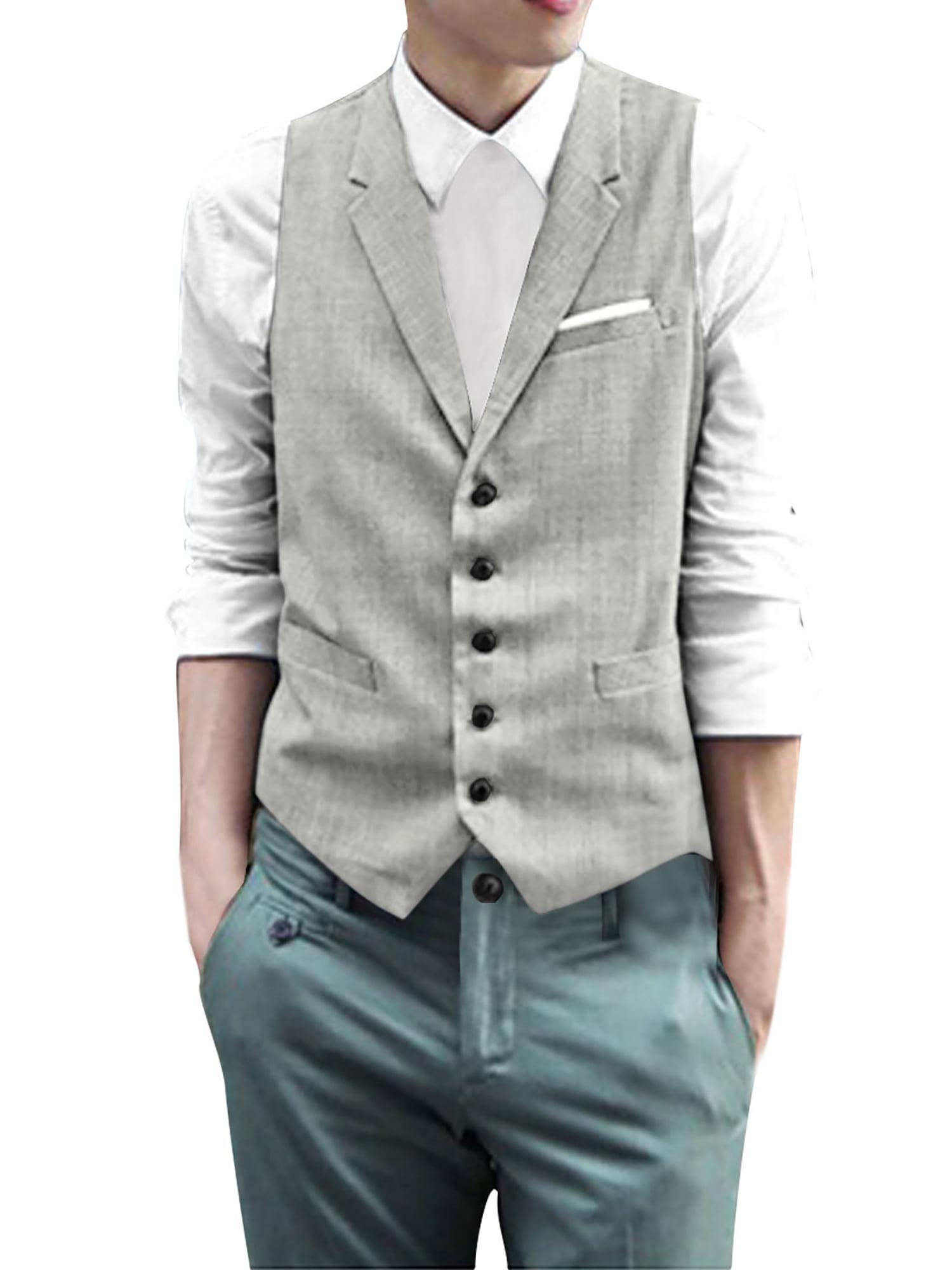 Azzuro Men's Notch Lapel Button Up Vest Gray (Size S / 34)