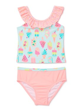 Wonder Nation Baby and Toddler Girl Ruffle Tankini Swimsuit with UPF 50+