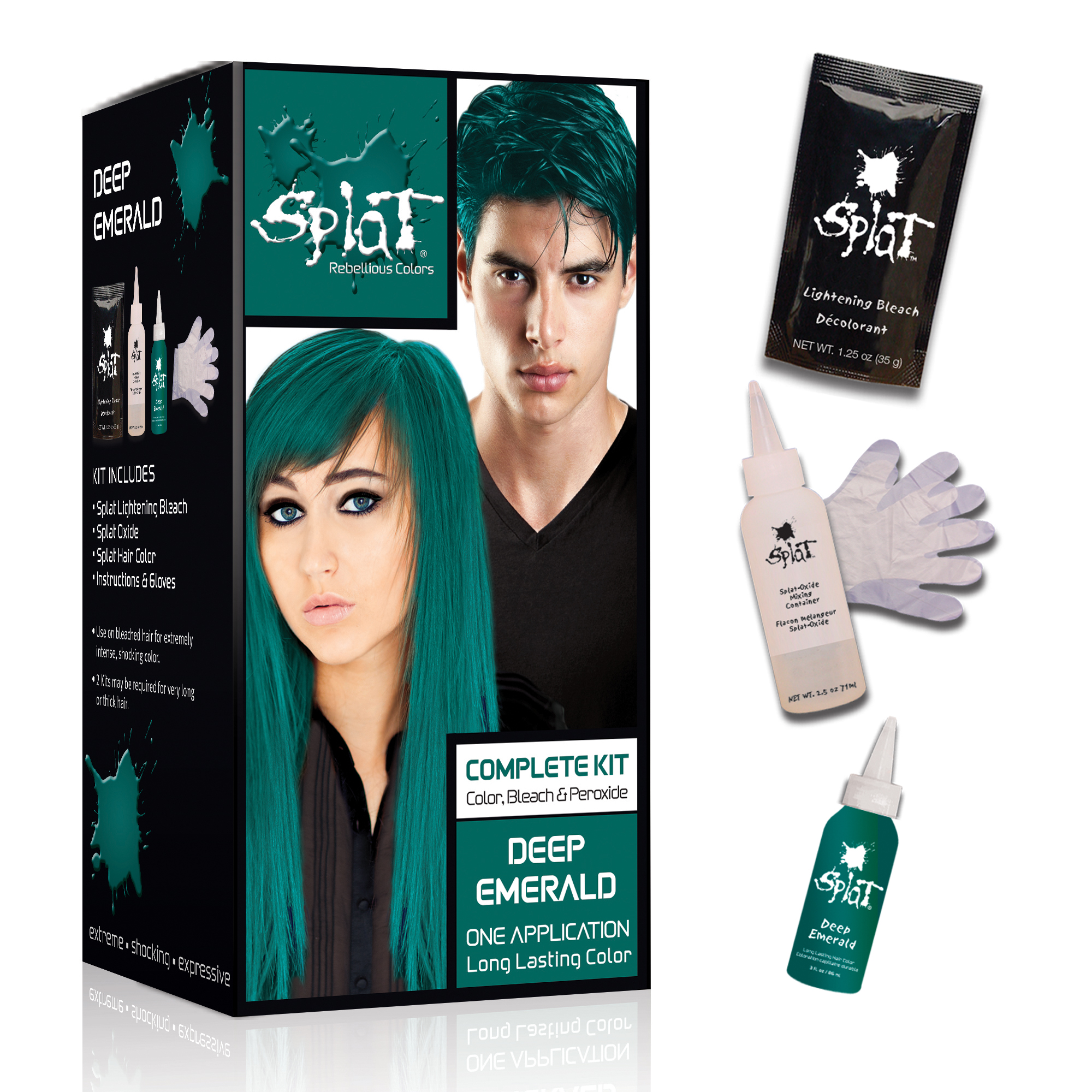 Splat 30 Wash Hair Dye Kit Semi Permanent Deep Emerald Green
