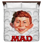 Mad Alfred Head King Duvet Cover White 104X88