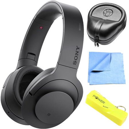 Sony MDR100 h.Ear on Wireless NC On-Ear Bluetooth Headphones w/ NFC - Charcoal Black (MDR100ABN/B) with HardBody Sized Headphone Case, 2600mAh Portable Keychain Power Bank & Cleaning Cloth