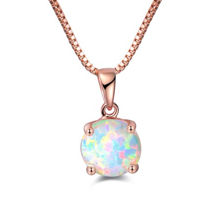 Rose Gold Plated Fire Opal Pendant Necklace