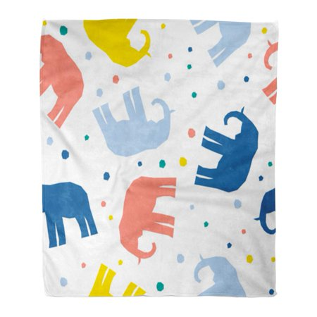 LADDKE Flannel Throw Blanket Blue Party Abstract Elephant Childish Handcrafted Baby Diaper Holiday Soft for Bed Sofa and Couch 58x80 Inches