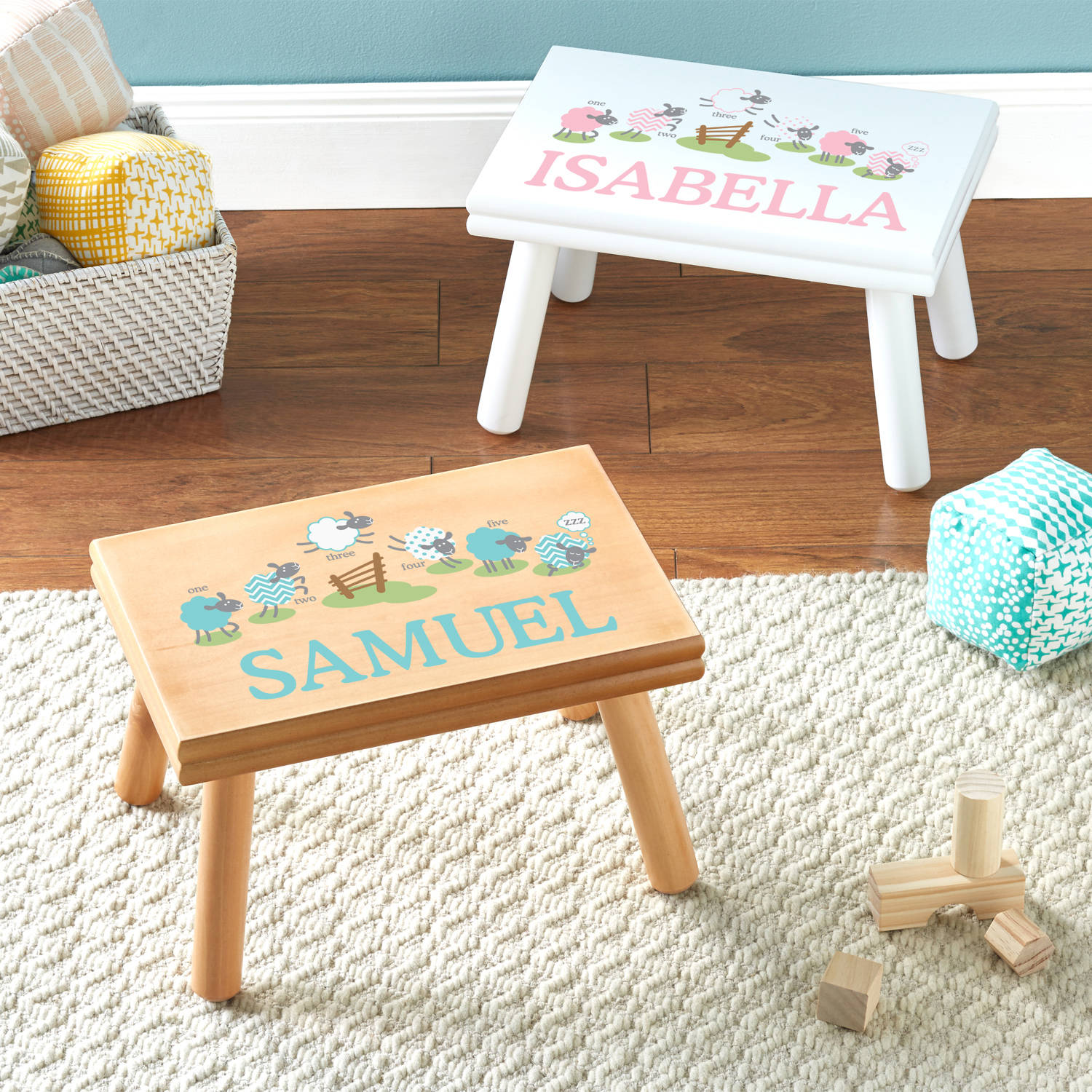 Personalized Pink Counting Sheep Step Stool, Available in 2 Finishes