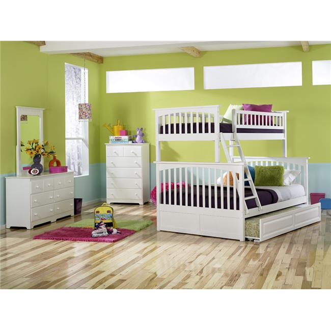Columbia Bunkbed with Urban Trundle Bed - White, Twin Over Full Size