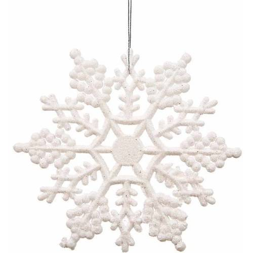 "Vickerman 4"" Glitter Snowflake Christmas Ornaments, Pack of 12"