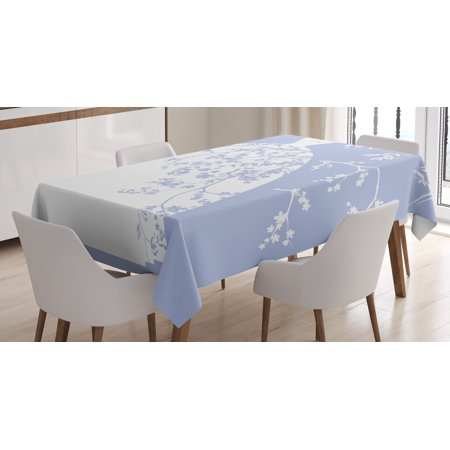 Bridal Shower Decorations Tablecloth, Wedding Bride Dress with Floral Swirl Details Image, Rectangular Table Cover for Dining Room Kitchen, 52 X 70 Inches, Violet Blue and White, by Ambesonne (Bridal Tablecloths)