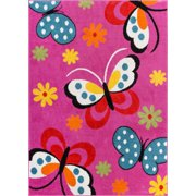 Well Woven StarBright Daisy Butterflies Modern Abstract Pink 5' x 7' Area Rug