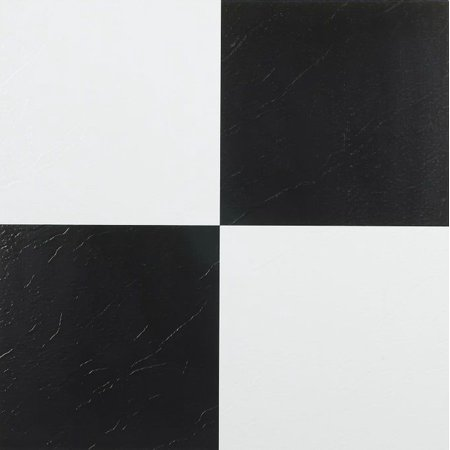 Traditional Elegance 5th Avenue Collection Black & White 12x12 Self Adhesive Vinyl Floor Tile - 45 Tiles/45 sq. (Black & White Tile)
