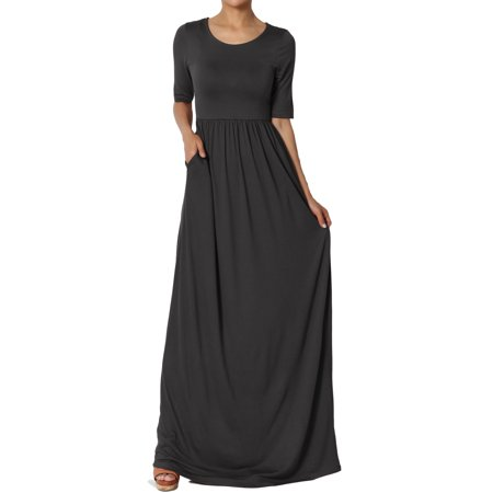- TheMogan Women's S~3X Half Sleeve Round Neck Shirred Viscose Jersey Long Maxi Dress