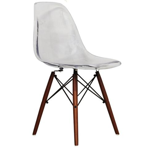 Clear   Modern Style Side Chair With Walnut Wood Legs Eiffel Dining Room  Chair   Lounge