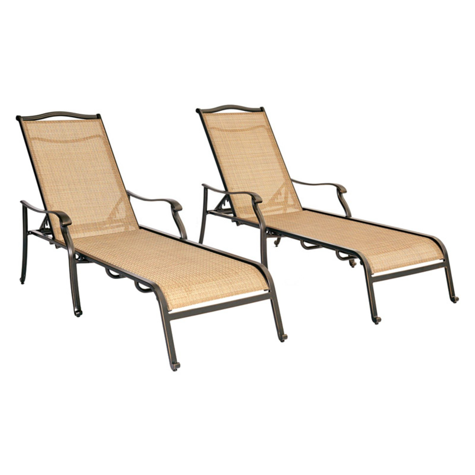 Hanover Monaco Set of 2 Sling-Back Chaise Lounge Chairs Neutral cedar / bronze MONCHS2PC