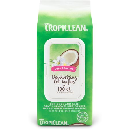 - TropiClean Deep Cleaning Deodorizing Pet Wipes, 100 Ct