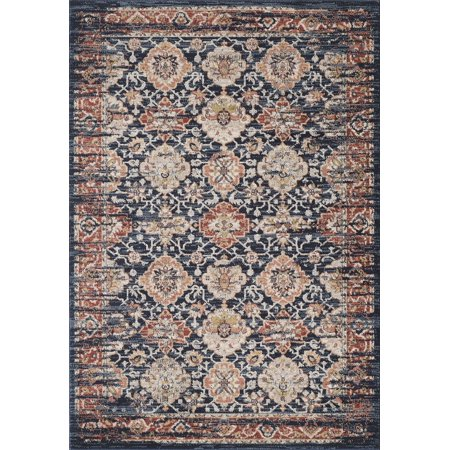 4x6' 2 Ply Polyester - Abani Vintage Pattern Large Area Rug 8x10, 5x7, 4x6, Turkish, Navy & Multi-Color