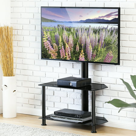 FITUEYES Swivel Floor TV Stand With Mount Height Adjustable for 32 50 55 inch Vizio/Sumsung/Sony Tvs Flat Curved Screen TV Max VESA 400x400 FTW207502MB-WT207001