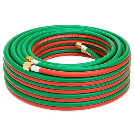 Best Choice Products Industrial Duty 300 PSI 50' Twin Welding Torch Hose (Multicolor) (Twin Flame Torch)