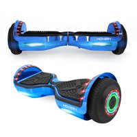 "Hover-1 Chrome Hoverboard W/ 6.5"" Wheels, Built-In Bluetooth Speaker, LED Headlights & Ultrabright LED Wheel Lights, Built-In Rechargeable Lithium-Ion Battery W/ 4.5-Hour Max Charge Time- Blue"