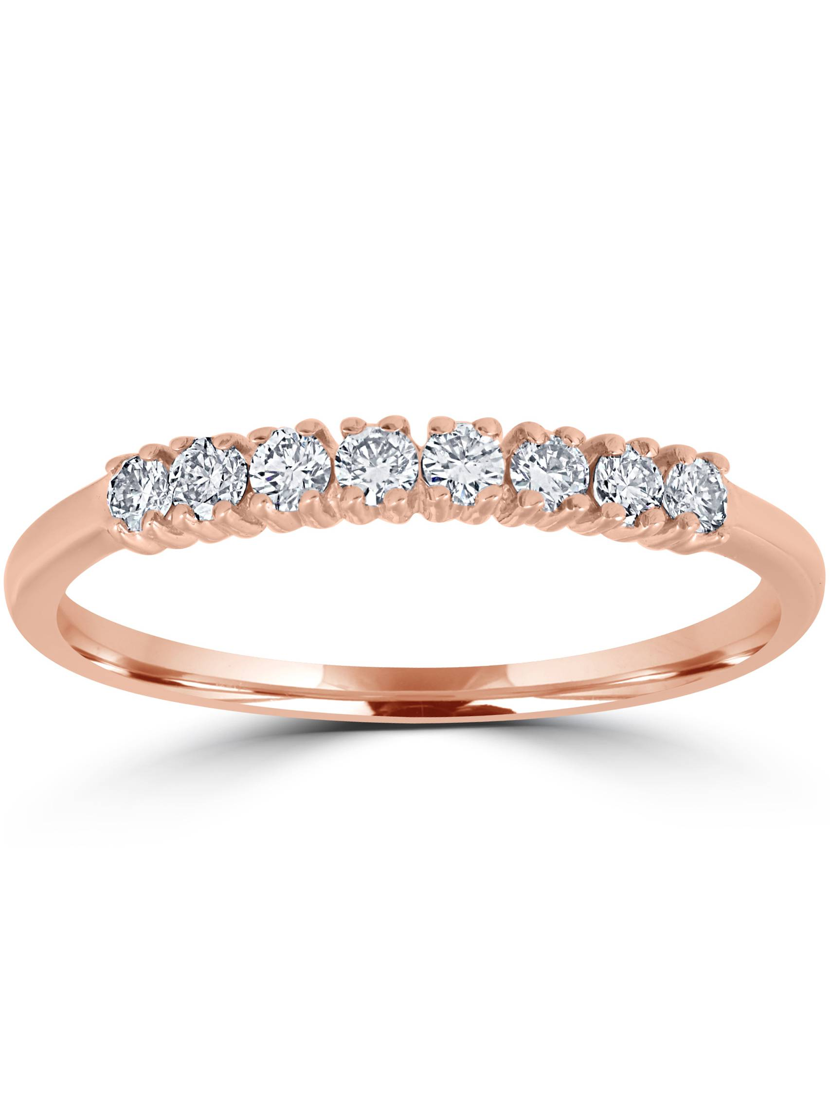 1/5ct Diamond Ring 14k Rose Gold Womens Stackable Wedding Anniversary Band