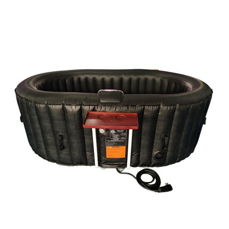 ALEKO Oval Inflatable Hot Tub Spa With Drink Tray and Cover - 2 Person - 145 Gallon - Black