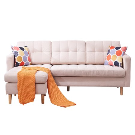 Sectional Sofa with Chaise, Mid Century Modern Upholstered Linen Sofa, Fabric Sofa Couch w/ Solid Wood Frame, Arm, Pillow & Padded, Small Spaces Furniture for Living Room, Office, Beige, W5834