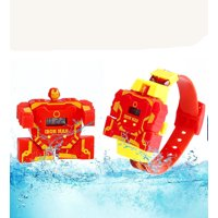 Ironman LED Robot Transforming Two-Piece Children Transformation Robot Watch Toys Adjustable Watch-KRW-3