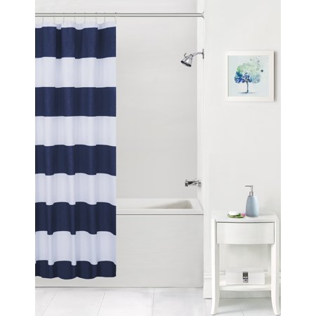 Your Zone Cabana Stripe Microfiber Coordinating Shower Curtain