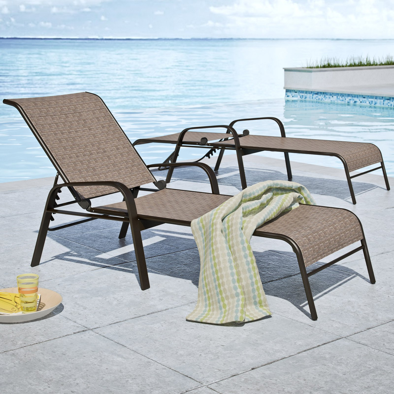Charmant CorLiving Brown Mesh Reclining Patio Loungers, Set Of 2