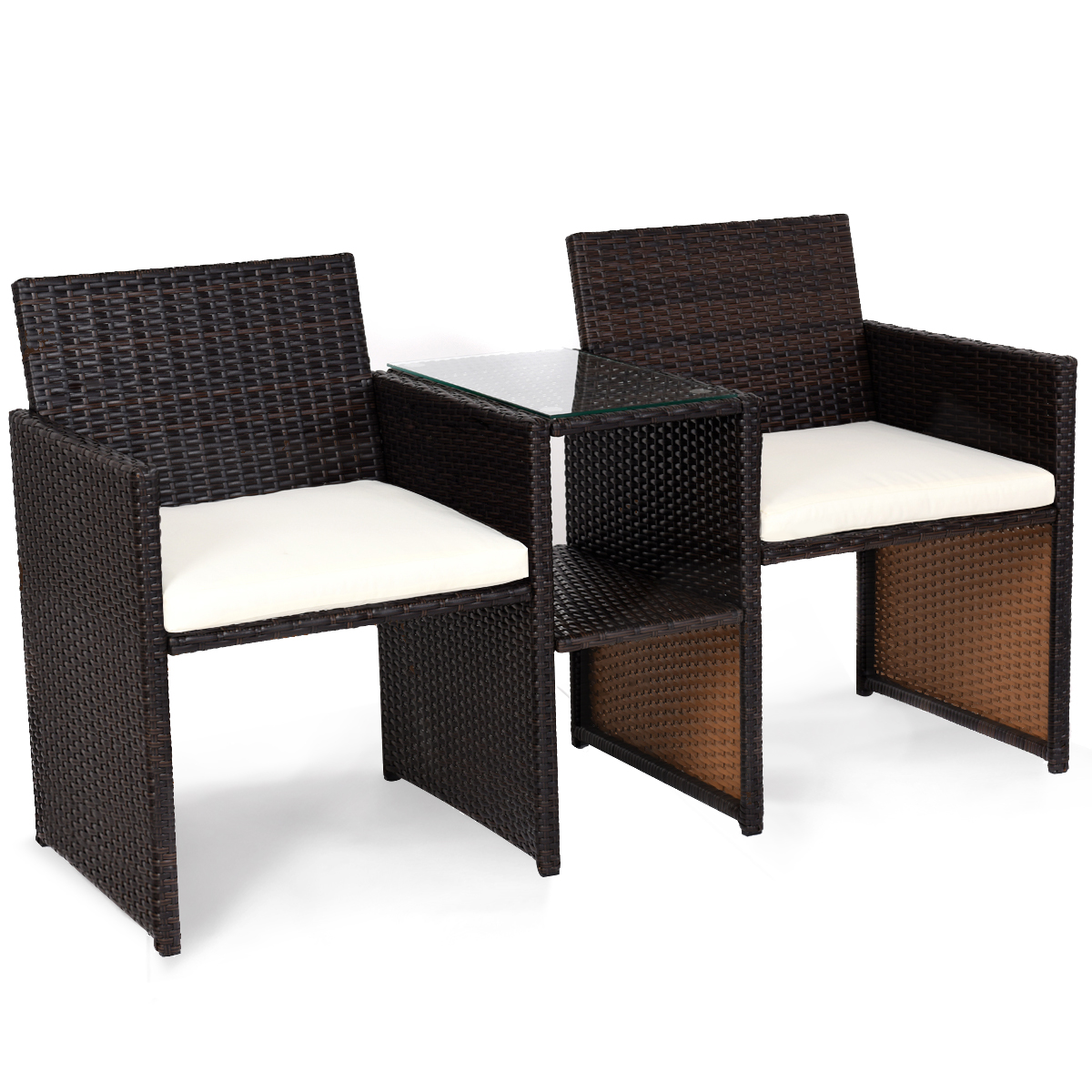 Gymax Cushioned Patio Rattan Seat Loveseat Sofa Table Chairs
