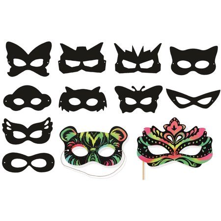 VHALE 24pcs Assorted Scratch Art Party Masks with 24 Wooden Styluses to Create Fun Art, Drawing, Painting, Creative Arts and Crafts, Travel Toys, Halloween Costumes for Children Kids