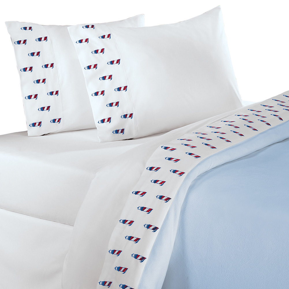 Nautical Lighthouse Embroidered Sheet Set - Includes Fitted, Flat, and Pillowcase(s), King, Multi
