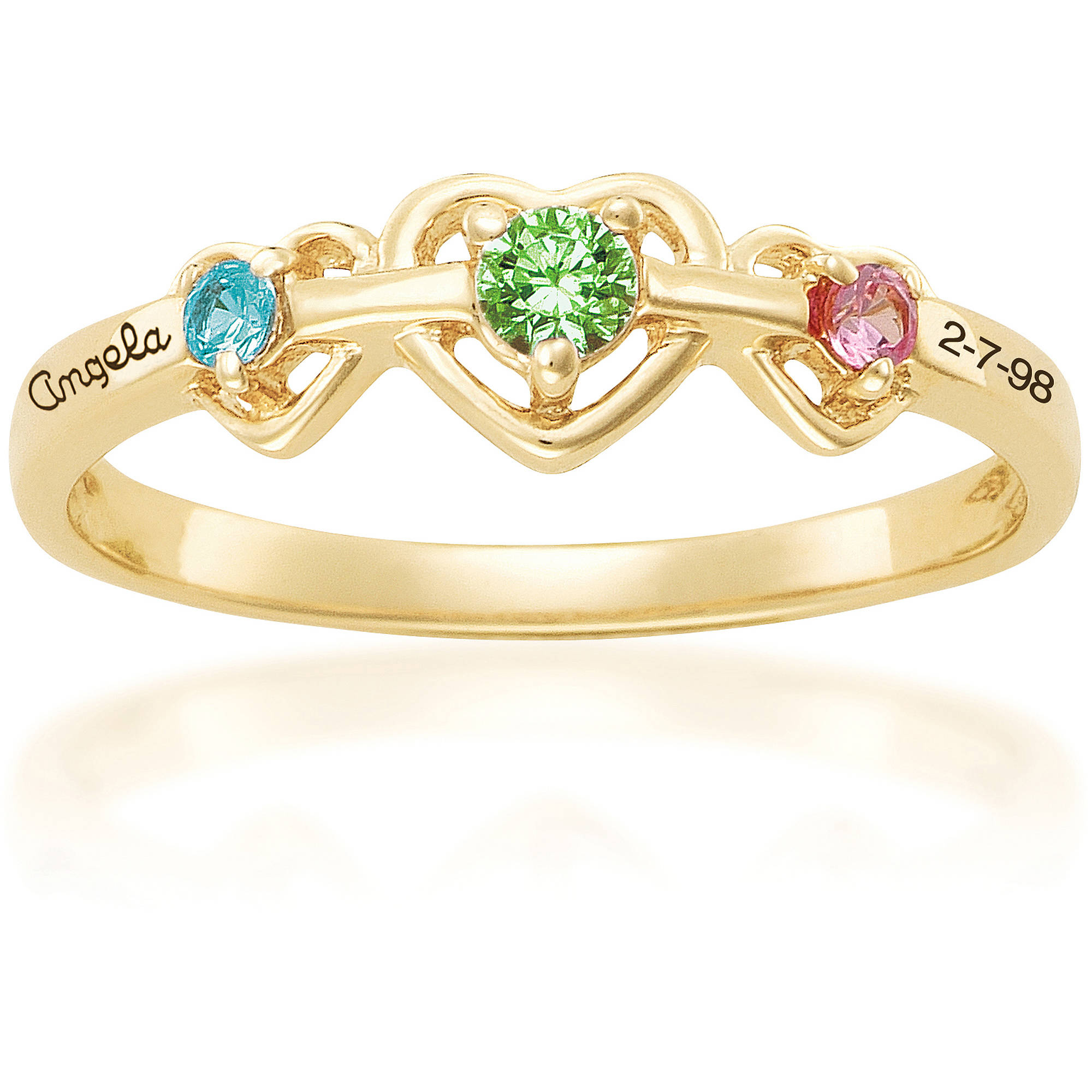 Keepsake Personalized Triple Heart Mother's Birthstone Ring available in 10kt Gold Plate, 10kt Gold and 14kt Gold