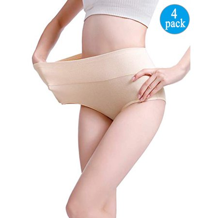 LELINTA Women's Best Fitting Panties Briefs 4 Pack, Soft Cotton High Waist Breathable Solid Color Brief Seamless Panties for Women Plus
