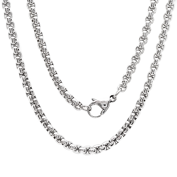 30 Inch Stainless Steel Rolo Box Chain Necklace with Lobster Clasp by