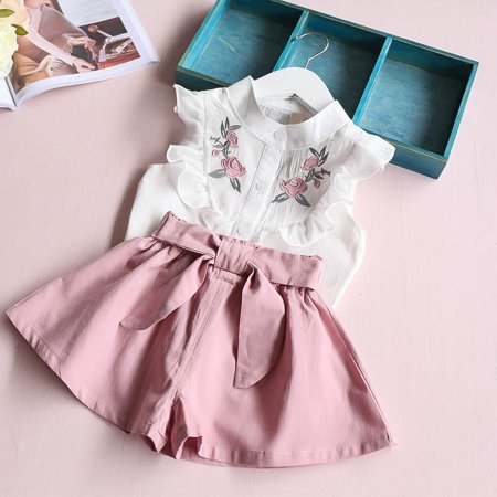 Summer Baby Girls Clothing Set Children Heart Shirt Bow Shorts Suit Kids Floral Bow Clothes 2pcs Set - Baby Girl Santa Suit