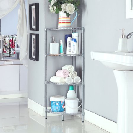 Stored Corner Shelf (Top Knobs 4-Tire Corner Wire Shelf Bathroom Corner Shelf, Free Standing Corner Storage Rack,Adjustable,Stainless,Sliver)