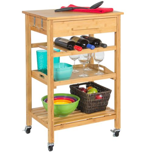 Rolling Wood Kitchen Storage Cart Rack With Drawer & Shelves Home Furniture