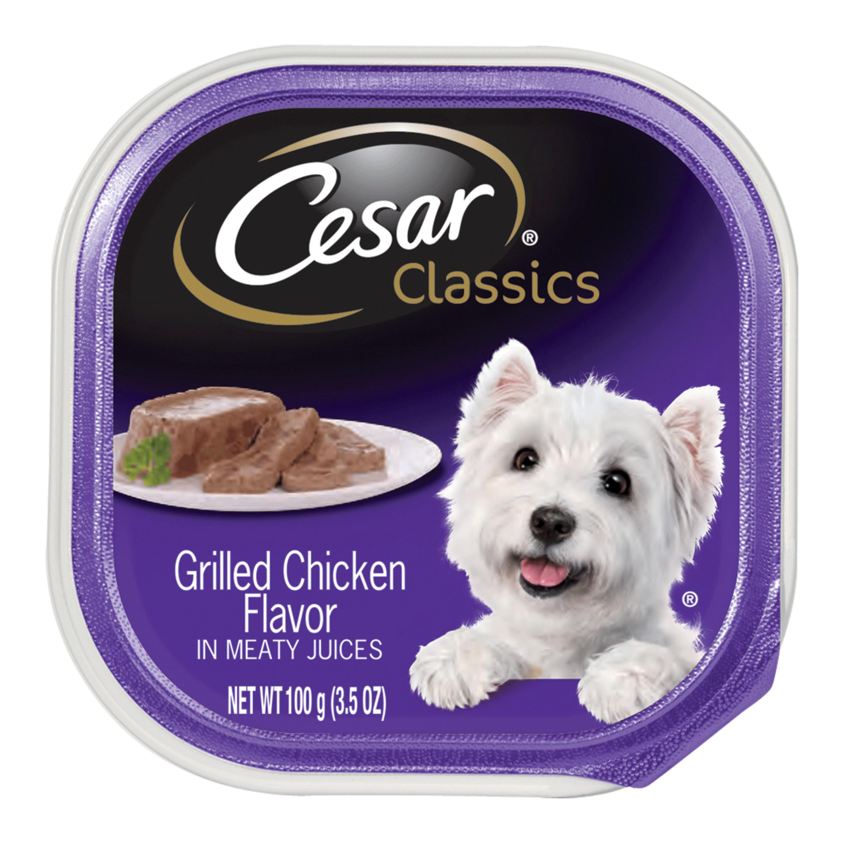 (12 Pack) CESAR CANINE CUISINE Wet Dog Food Grilled Chicken Flavor, 3.5 oz. Tray