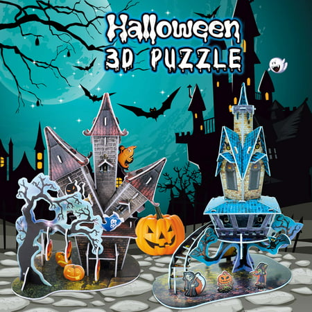 Halloween 3D Paper Jigsaw Puzzles in 2 Styles- 89 Pieces for Kids Halloween Party Supplies, Game Prizes, Indoor Decorations,Gifts and More F-218