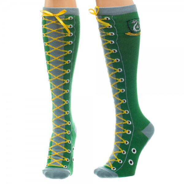 Knee High Socks - Harry Potter - Slytherin Faux Lace Up New kh2qushpt