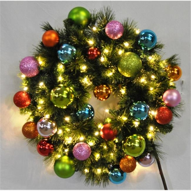 Queens of Christmas WL-GWSQ-04-TROP-LWW 4 ft.  Pre-Lit Warm White Sequoia Wreath Decorated with The Tropical Ornament