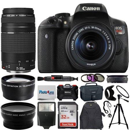 Canon EOS Rebel T6i Camera 18-55mm stm + 75-300mm + Top Accessories