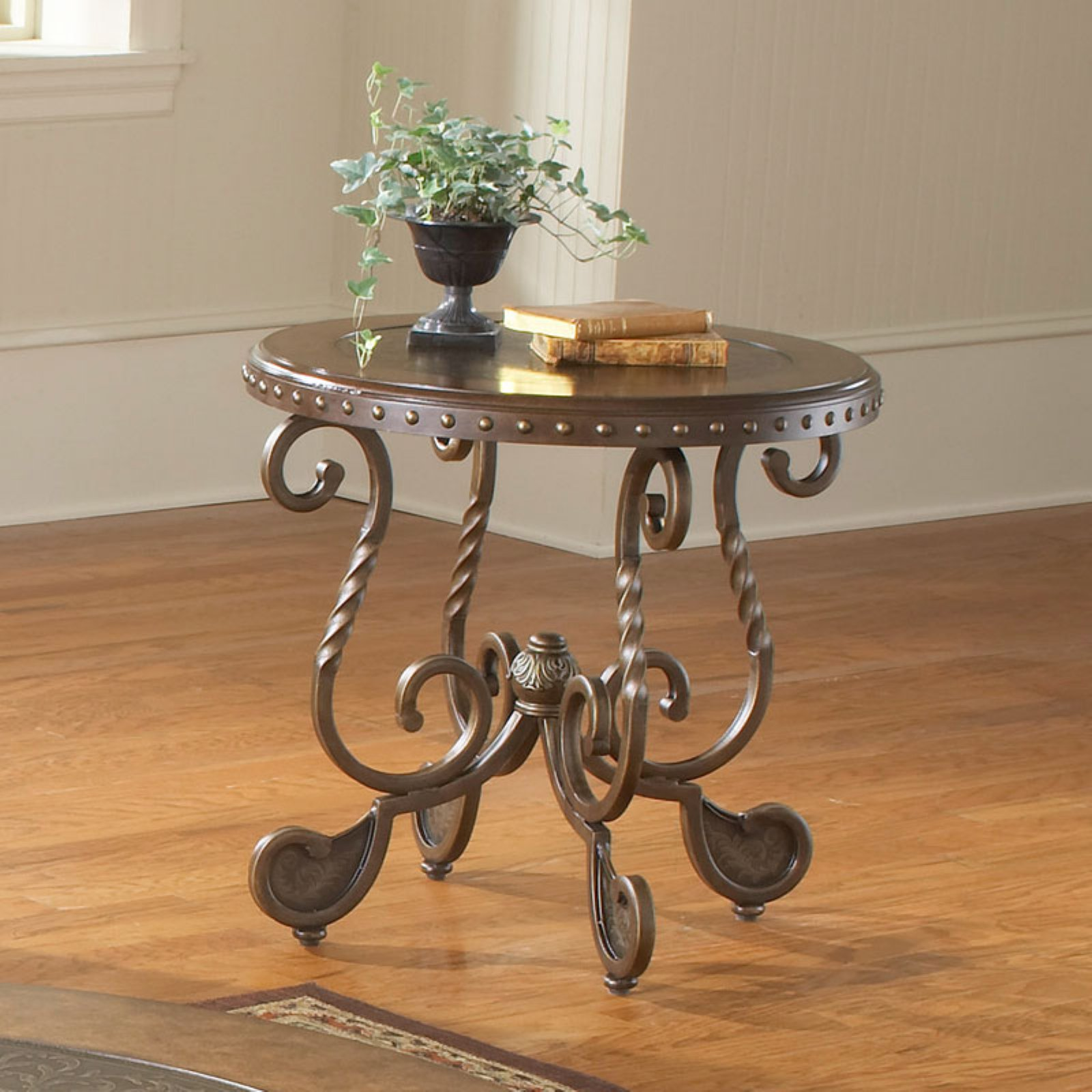 Bernards Metal Etched Round End Table with Nailheads